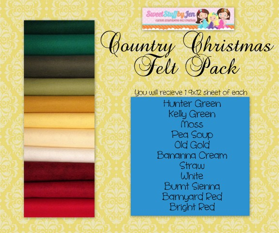 Country Christmas Wool Felt Pack