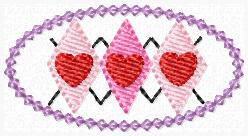 Argyle Heart Clip Cover Embroidery File