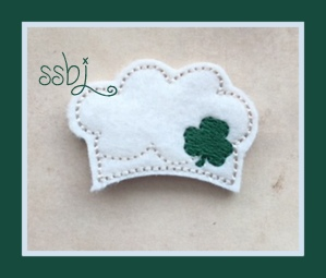 SSBJ Bakers Hat St Pats Shamrock Embroidery File