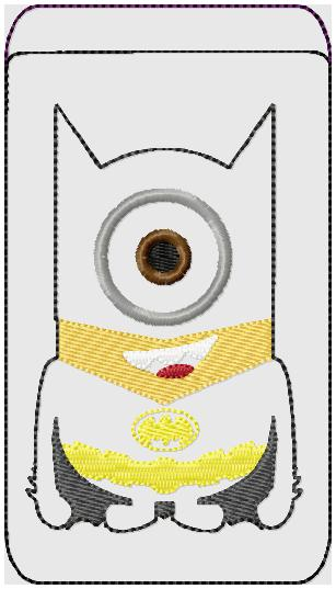 Bat Minion Phone Case Embroidery File