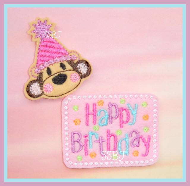 Happy Birthday Monkey Embroidery File