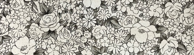 Black White Garden Flower Embroidery Vinyl