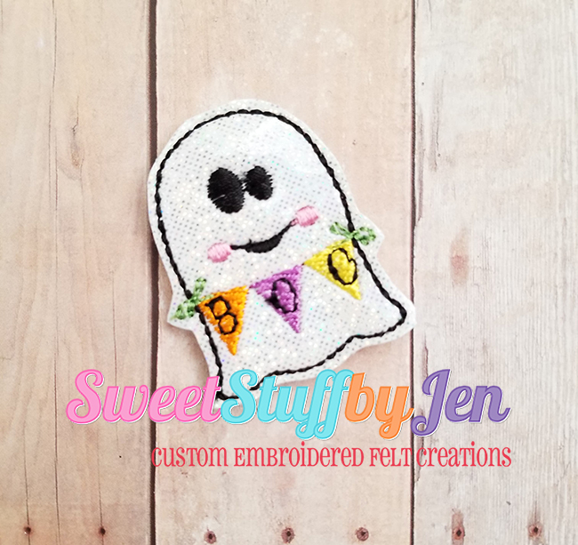 SSBJ BOO Banner Ghost 2 Embroidery File