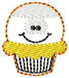 FILLED Candy Corn Cupcake Embroidery File