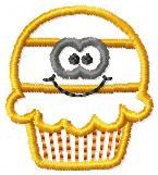 Candy Corn Cupcake Applique Embroidery File
