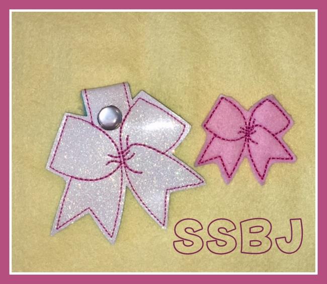 SSBJ Cheer Bow Feltie, Glam Band Slider & Key Chain Embroidery File