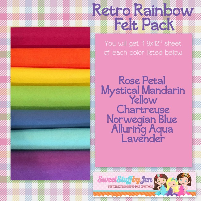 Retro Rainbow Felt Variety pack