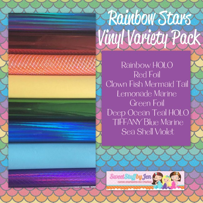 Rainbow Stars Embroidery Vinyl Variety Pack