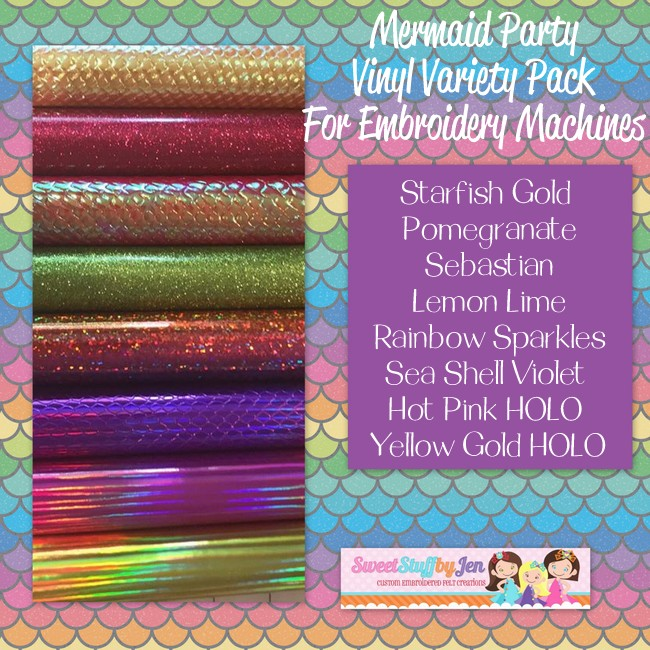 Mermaid Party Embroidery Vinyl Variety Pack