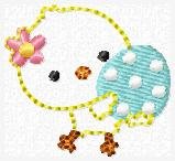Easter Egg Chick Embroidery File