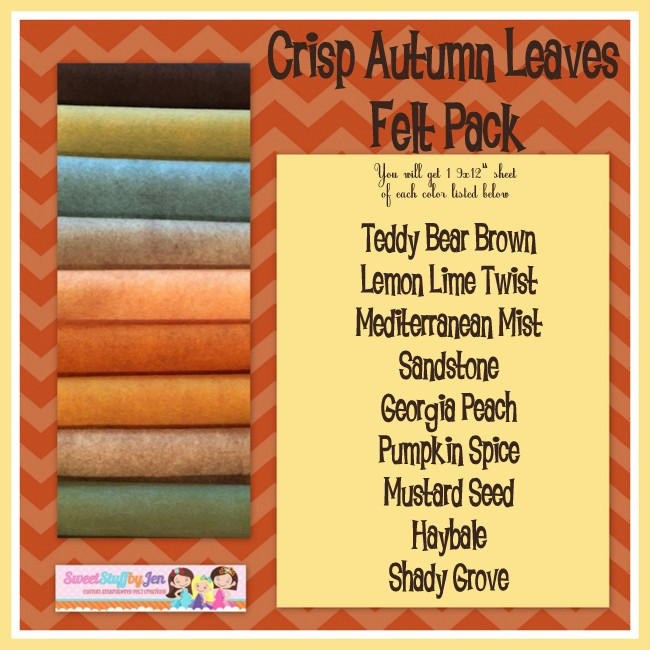 Crisp Autumn Leaves Wool Blend Felt Pack