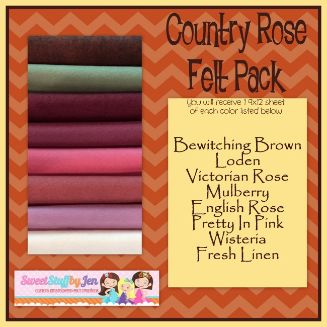 Country Rose Wool Blend Felt Pack