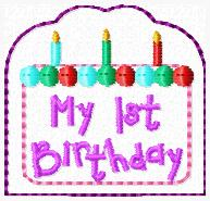 My First Birthday Cake Cover Embroidery File