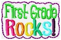 First Grade Rocks Feltie Embroidery File