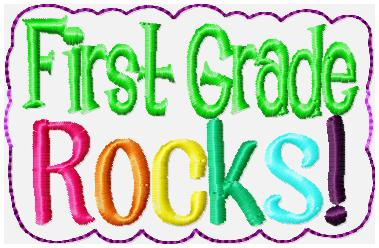 First Grade Rocks Glam Band Embroidery File