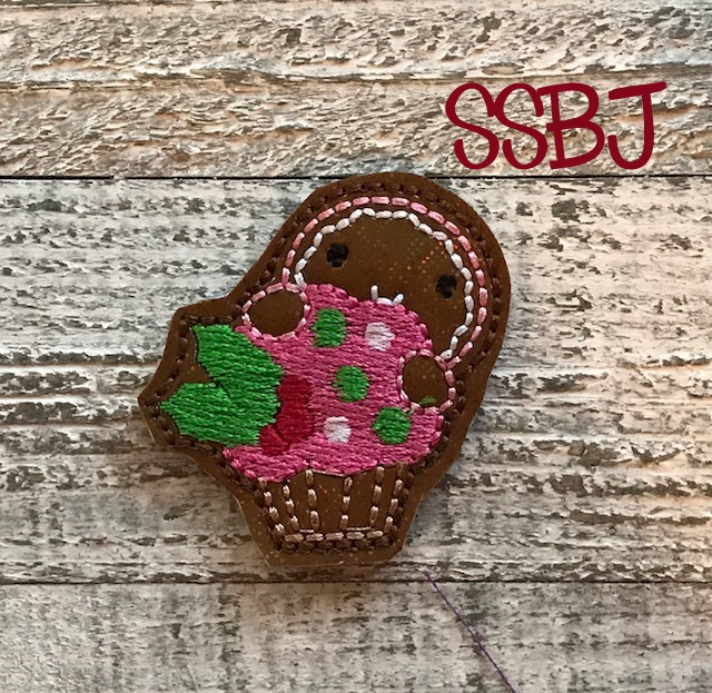 SSBJ Peeking Gingerbread Cupcake Filled Embroidery File