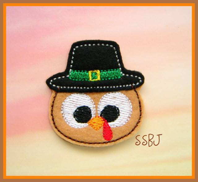 Googly Eyed Turkey Pilgrim Embroidery File