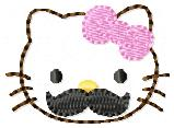 HK Moustache Kitty Embroidery File
