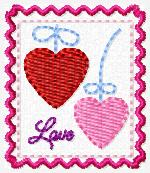 Hanging Hearts Love Stamp Embroidery File