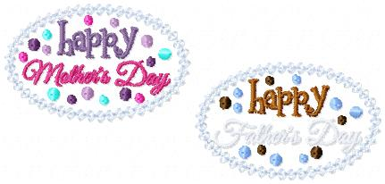LBS Happy Mothers & Fathers Days 2 Embroidery File