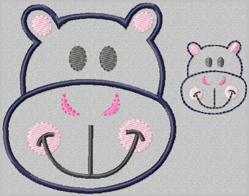 Happy Hippo Embroidery File