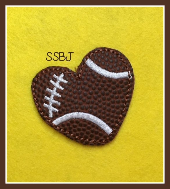 SSBJ Football Heart Feltie Embroidery File