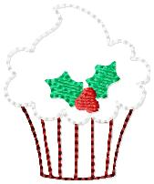Holly Cupcake Embroidery File