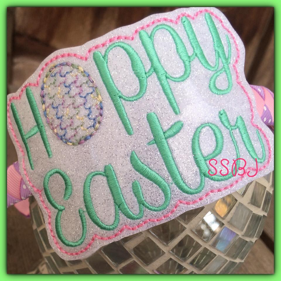 Hoppy Easter Glam Band Embroidery File