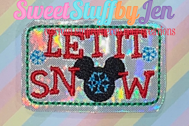 SSBJ Let it Snow Mouse Snowflake Embroidery File