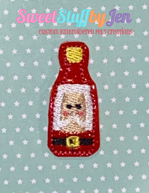 SSBJ Mr Claus Wine Bottle Face Embroidery File