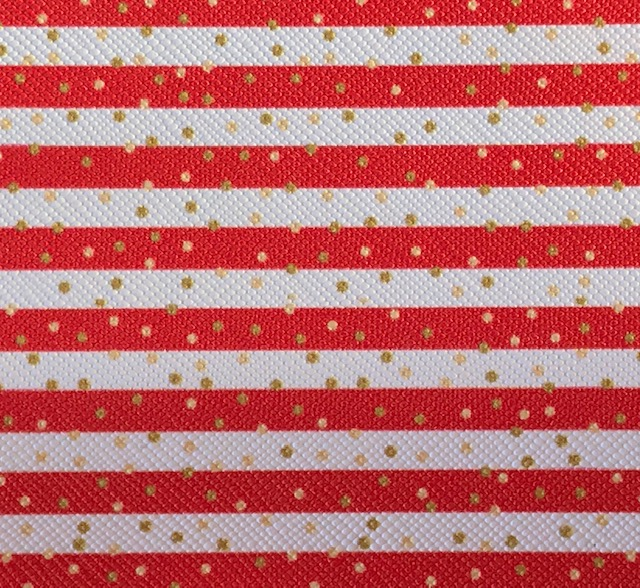 Printed Red Stripe & Gold Dots Embroidery Vinyl