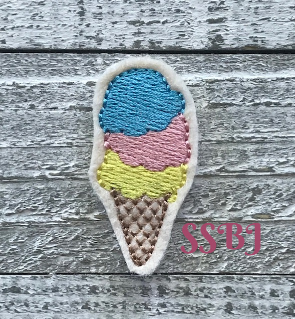 SSBJ Triple Scoop Ice Cream Cone Embroidery File