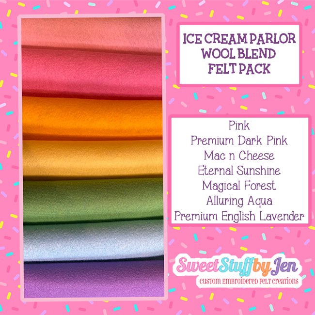 Ice Cream Parlor Wool Blend Felt Variety Pack
