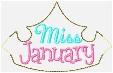 Miss Months January Embroidery File