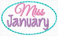 Miss January Clip Cover Embroidery File