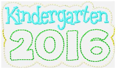 Kindergarten 2016 Embroidery File