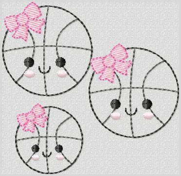 Kutie Basketball Embroidery File