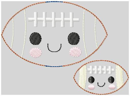 Kutie Football Plain Embroidery File
