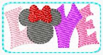 Love Minnie Clip Cover Embroidery File