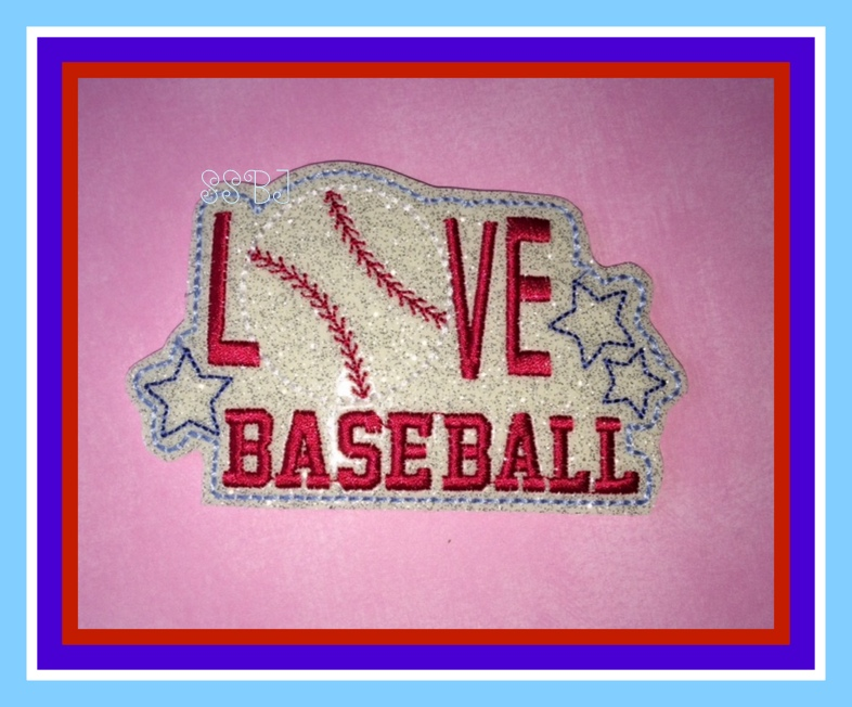 LOVE Baseball Glam Band Slider Embroidery File