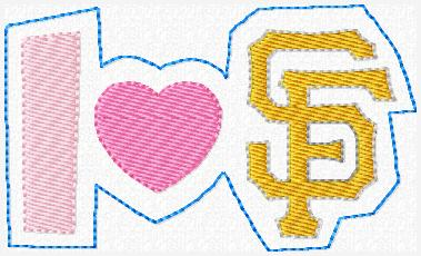 "I ""Heart"" Giants Embroidery File"