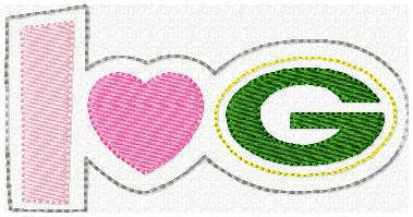 Love Green Bay Glam Band Embroidery File