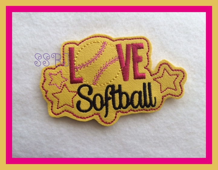 Love Softball Glam Band Embroidery File