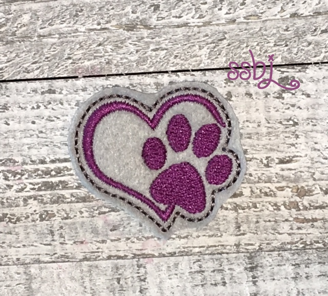 SSBJ Heart Dog Paw Embroidery File