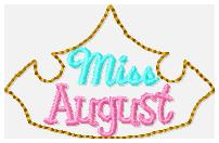 Miss Months August Embroidery File