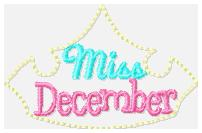 Miss Months December Embroidery File