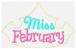 Miss Months February Embroidery File