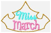 Miss Months March Embroidery File