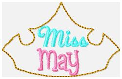 Miss Months May Embroidery File