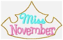 Miss Months November Embroidery File